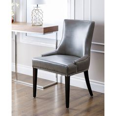 ABBYSON LIVING Newport Grey Leather Nailhead Trim Dining Chair - Overstock Shopping - Great Deals on Abbyson Living Dining Chairs