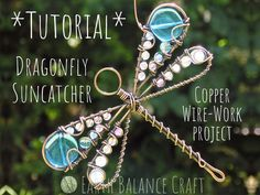 Learn to make a gemstone dragonfly suncatcher, using copper wire and gemstone beads. This downloadable Ebook tutorial will take you step by step through the complete making process. Learn basic metal working techniques to progress your wire work journey. Suncatcher: