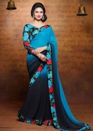 Party Wear Georgette Multi Colour Lace Border Work Saree
