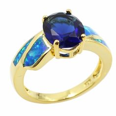 (11.55$)  Know more  - Fashion CZ Diamond Simulated Opal 925 Sterling Silver Ring Gold Plated Women Girl Wedding Engagement Jewelry Accessory