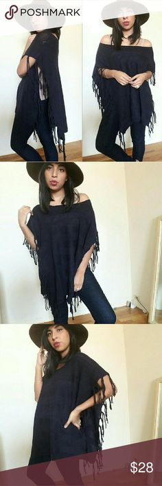 🌺CLEARANCE🌺NAVY BLUE FRINGE KIMONO SWEATER Gorgeeeeee-ous navy blue kimono sleeve sweater. Cute fringe detail. Has navy horizontal stripes. Can be worn off shoulder.  Super vesatile. Its unattached to the bodice as shown in last picture. Fits TTS .   Fabric Content: 50%Viscose , 30%Nylon, 20%Polyester   Sizes available: S M l  Modeling size M/L  ❌NO OFFERS ACCEPTED ON THIS ITEM❌ Sweaters