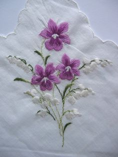 Tiny violets on a cotton voile hankie