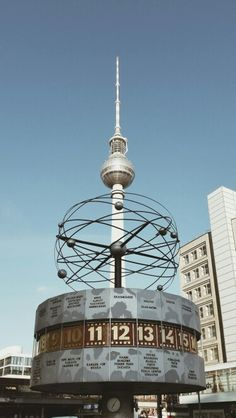 Berlin classics - the TV tower and the world time clock on the Alexanderplatz.