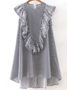 SheIn offers Vertical Striped Sleeveless Ruffle Dipped Hem Zipper Dress & more to fit your fashionable needs. Simple Dresses, Casual Dresses, Fashion Dresses, Girls Dresses, Blouse Styles, Blouse Designs, Look Fashion, Girl Fashion, Vetement Fashion