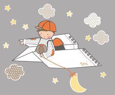 Vinilos infantiles - Esta colección está pensada para que decore una pared standard. Incluye: Niño en avión de papel, 4 nubes, 1 luna y 8 estrellas. Ancho del avión= 92 cm.  Se trata de vinilos de corte, todas las piezas se entregan troqueladas, sólo tienes que aplicarlas en la pared (su colocación es facilísima).  Los vinilos de Stencil Barcelona son de alta calidad, mates, no brillan nada,  y no pierden adherencia con el tiempo.  Contactando con Stencil Barcelona puedes pedirnos cambios…