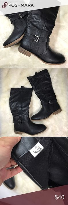 Black Boots Has some markings on the bottoms. Other then that everything else is perfect. Zipper closure on the inner sides. No box included. Fast shipping. bucco Shoes Combat & Moto Boots