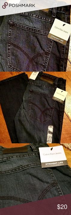 "NWT Men's Straight Leg Calvin Klein Jeans Brand new Calvin Klein CK jeans. 32/34 straight leg jeans in the  color ""indigenous"". Very comfortable jeans, my husband owns a couple exactly like these and he loves them. Calvin Klein Jeans Straight"