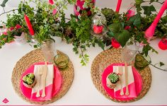 pink neon Event Design, Neon, Table Decorations, Pink, Furniture, Home Decor, Decoration Home, Room Decor, Neon Colors