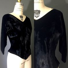 Black velvet gothic V neck and hem 1950s 50s by SilkFortVintage