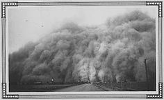 View of a dust storm in Baca County, Colorado during the Great Depression