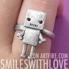 $7.50 Adjustable Super Cute Robot Geeky Ring in Silver