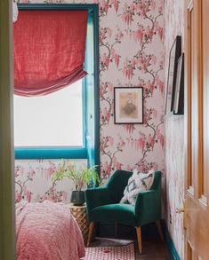 """Pearl Lowe on Instagram: """"My wisteria wallpaper looks so pretty in this bedroom! It's available to buy now through @woodchipandmagnolia Thank you for sharing…"""" Pink Hallway, Pearl Lowe, Wisteria, Lowes, Valance Curtains, Buy Now, Iphone Wallpaper, Minimalism, Gallery Wall"""