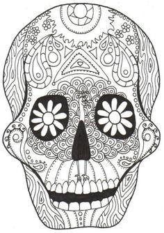 Dia de los muertos skull coloring pages | Coloring pages, Coloring pages for kids printable free