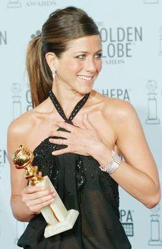 The Verklempt Ponytail ~ Jennifer Aniston at the 60th Annual Golden Globe Awards, 2003.