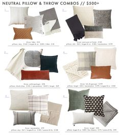 18 Neutral (and Textured) Pillow Combos + 5 Rules for Guaranteed Combo-ing Success - Emily Henderson Emily Henderson Roundup Mountain Fixer Pillow Combos Living Room Pillows, Pillow Room, Couch Pillows, My Living Room, Living Room Decor, Couch Pillow Arrangement, Green Throw Pillows, Modern Throw Pillows, Bolster Pillow