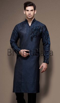 Stunning Navy Blue & Black Kurta pyjama  Item code : SKB2085   http://www.bharatplaza.in/new-arrivals/kurta-pyjamas/stunning-navy-blue-black-kurta-pyjama-skb2085.html  https://twitter.com/bharatplaza_in  https://www.facebook.com/bharatplazaindianbridal