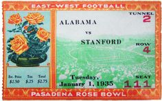 1935 Rose Bowl Ticket - Alabama versus Stanford