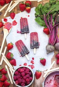 Pretty popsicles made from beets and berries.
