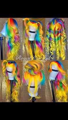 # birthday weave Hairstyles human hair wigs on Mercari Cute Hair Colors, Pretty Hair Color, Rainbow Wig, Rainbow Dash, Creative Hair Color, Colored Wigs, Birthday Hair, Baddie Hairstyles, Hairstyle Men