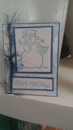 Snowman  Christmas Greeting Card Handmade by jennrainescreations, $4.00