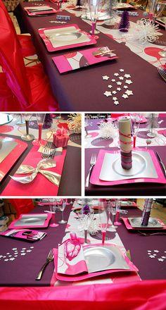 Decoration table de noel fuchsia