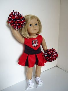 University of Georgia Bulldogs Cheerleader, gym shoes, poms for American Girl Doll