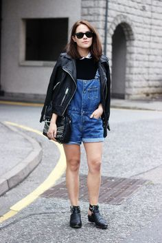 Jacket: the little magpie, bag, shoes, t-shirt, overalls, denim overalls, romper, leather jacket, all saints, boots, black boots, zara, cos, blogger, hipster, cute, leather, perfecto, jumpsuit, short overalls, spring outfits - Wheretoget