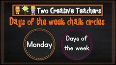 Two Creative Teachers - Days of the Week $1.50  This product contains each day of the week on a chalkboard circle. Two circles fit on one A4 printed page.Brighten up your classroom or learning space with these fun and colourful Days of the Week! Teaching Ideas:* Use as a display.* Place the days of the week in the correct order. * Identify which days make up the days of the week and the weekend. #twocreativeteachers #printable