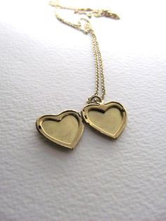 Heart locket necklace on antiqued gold metal by MySoCalledVintage, $26.00