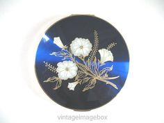 Stratton powder compact white and gold flowers by VintageImageBox