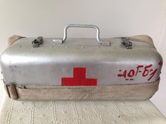 Vintage Retro Large aluminium first aid box with shoulder straps from Eastern Europe/ Red cross/Medical collectables/Mid century/ by trevoranna on Etsy