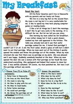 4 Comprehension Exercises My Breakfast √ Comprehension Exercises . Nothing New Under Sun Third Grade Reading Worksheets in Informations About 4 Comprehension Ex Comprehension Exercises, Reading Comprehension Activities, Reading Worksheets, Printable Worksheets, Reading Passages, Reading Fluency, English Grammar Worksheets, English Vocabulary, Reading Skills
