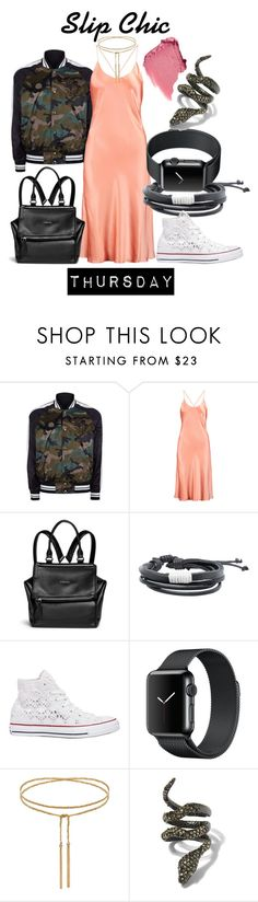 """""""Slip Chic Thursday"""" by luxurycitizen on Polyvore featuring Valentino, Olivia von Halle, Givenchy, MANGO, Converse and Alexis Bittar"""