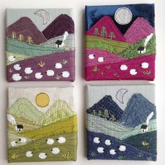 Did you know that today is National Tweed Day? I probably have thousands of tweedy photos stored on my iPhone, but here's one of my favourites. I really like the tactile quality of these little landscape canvases. I must make some more of these soon. #swinkydoo #irishtweed #nationaltweedday #minilandscape