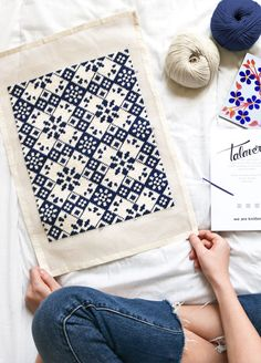 Talavera Petit Point kit in pima cotton Cross Stitch Embroidery, Embroidery Patterns, Hand Embroidery, Diy Bag Gift, Cross Stitch Designs, Cross Stitch Patterns, Knitting Kits, Knitting Patterns, Jute Bags