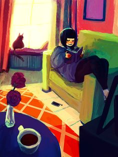 A good plan: coffee and reading  (illustration by Pati Cmak)