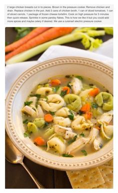 Chicken tortellini soup.