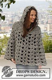 Ravelry: 140-44 Raffinement - Poncho with hood in Polaris pattern by DROPS design