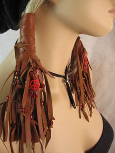 Leather Ponytail Wraps | Hair Wrap Extensions,Fringe Leather Vest Ponytail Holder Peace Sign ...