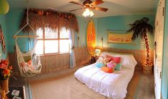 Gorgeous kids bedroom brings home the tropical style in a delightful fashion 20 Kids' Bedrooms That Usher in a Fun Tropical Twist!