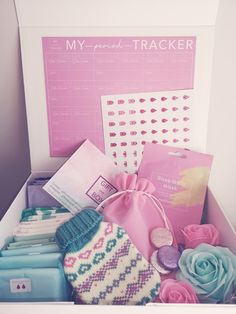 Period Package, Pink Gift Box, Gift Boxes, Period Kit, Mail Gifts, Sanitary Napkin, Body Hacks, Bathroom Organisation, Kids Boxing