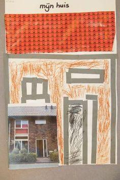 Neem een foto mee van je eigen huis en maak dat na met stroken, papier en potloden. Diy For Kids, Crafts For Kids, Arts And Crafts, School Fun, Back To School, Grandma Moses, 5th Grade Art, Construction, Art Lessons