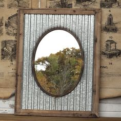 Oval Mirror With Tin Roof Frame