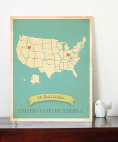 paint a US map white, glue on pretty paper and put heart stickers where your family LOVES :) DIY!