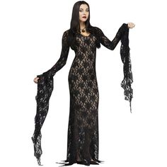 Lace Morticia Dress - Womens Costume ($55) ❤ liked on Polyvore featuring costumes and halloween costumes