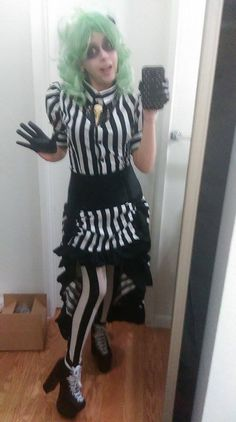 Onyx dressed as Lady Beetlejuice in our Moulin Rouge Skirt and Blouse!