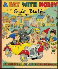 A Day with Noddy by Enid Blyton. First edition. A brightly colored picture book, each page is completely covered with bright color illustrations full of dolls (including Golliwoggs) and toys.