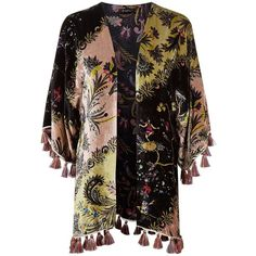 Etro Velvet Tassel Hem Kimono (4.450 RON) ❤ liked on Polyvore featuring intimates, robes, velvet kimono robe, velvet kimonos, tassel kimono, print kimono and velvet robe