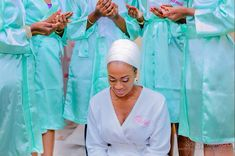 Bride and bridesmaids in robes praying   www.loveweddingsng.com Bridal Shower Pictures, Shower Pics, Bride Pictures, Bridal Robes, Brides And Bridesmaids, Africa, Satin, Cute, Dresses