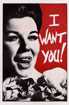 "Unidentified Porn ""I Want You!"" - 60s. Large figure with collage at the bottom. Bold, deep red with hard, manic type."